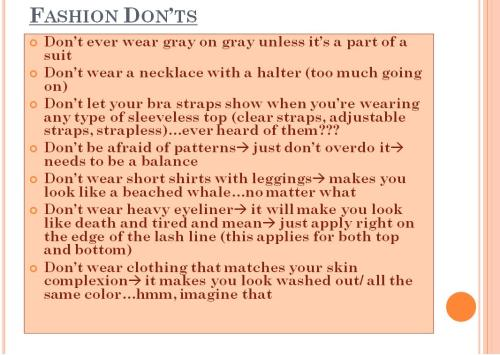 FASHION DON'TS